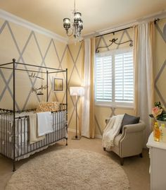 Yellow  gray. Nursery. Rustic. Beautiful. Window. Rug. New. In style. Pretty.