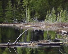 """"""" Reflections of green"""" 8"""" X 10"""" Acrylic on canvas For Sale: $110  Local beaver pond in Monroe, Washington"""