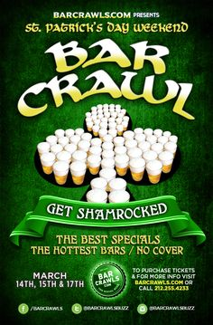 BarCrawls.com, the premier source for top bar crawls across the country, presents Seattle St. Patrick's Day Weekend 2014: GET SHAM-ROCKED. A three day event featuring the best bars, the best specials and the best bar hopping experience. For a 10% discount on tickets, please use code SEATTLE10 at checkout.