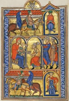 The Berthold Sacramentary, named after the abbot of Weingarten who commissioned it about 1215–1217, is without question the masterpiece of the Weingarten school of manuscript illumination. It is also one of the finest and most luxurious manuscripts produced in Germany at that time. The artist is unknown but he has been dubed the Master of the Berthold Sacramentary after this book. The top register depicts the arrival of the Magi, guided by the star, with the first king riding into the gold…