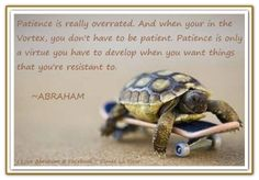 Patience is really overrated. And when your in the Vortex, you don't have to be patient. Patience is only a virtue you have to develop when you want things that you're resistant to. *Abraham-Hicks Quotes (AHQ1073)