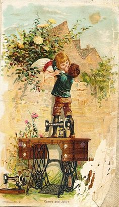 This is my Favorite Singer Sewing Machine Trade Card. It's called Romeo & Juliet. Singer sewing machines for true love Images Vintage, Art Vintage, Vintage Ephemera, Vintage Pictures, Vintage Cards, Vintage Paper, Vintage Postcards, Vintage Prints, Vintage Children Photos