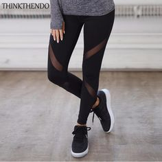 Wingteng Sportswear for fitness Mesh Patchwork Women Pants Leggings Fitness Dry Quick Yoga Pants Running Legging sport femme Mesh Insert Leggings, Cut Out Leggings, Black Leggings, Women's Leggings, Cheap Leggings, Black Capris, Printed Leggings, Running Leggings, Leggings Fashion