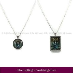 """Is your soul a little dark around the edges? Then """"Misty"""" may be calling to you. This gothic fairy is practicing magic in an eerie forest at twilight, surrounded by foggy desolation.  Fantasy Art Pendants by KK Swann allow you to feed your whimsy wherever you go. Set your despair free with this necklace featuring Drakey Art's original painting """"Misty"""". Customizable to fit your distinct style, choose your favorite metal from silver or gunmetal; and select your preferred shape (for the art…"""