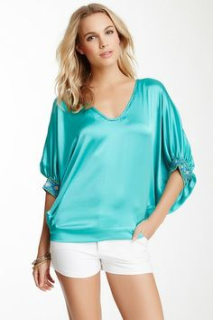 Hale Bob Silk Embellished V-Neck Blouse by Non Specific on @HauteLook