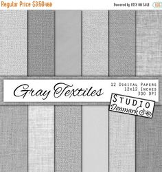 SALE Gray Textiles Linen / Canvas / Burlap Digital Paper - 12 Gray Textures - Commercial Use - 12in x 12in 300 dpi jpg - Instant Download Burlap Digital Paper burlap texture linen digital paper textured background linen texture canvas digital paper fabric texture light gray gray linen gray digital paper gray burlap grey burlap grey linen digital StudioDenmark 2.10 USD