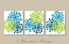 Abstract Floral Dandelion Art Prints Set of 3 5x7 8x 10 or