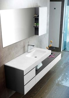 Contemporary style single wood-product vanity unit with drawers with mirror MAKING SLATE By Fiora Modern Bathroom Design, Bathroom Interior Design, Washbasin Design, Contemporary Living Room Furniture, Bedroom False Ceiling Design, Vanity Design, Vanity Units, Bathroom Furniture, Bathroom Mirrors