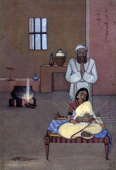Nativity painting from India by Angelo da Fonseca The Birth Of Christ, Birth Of Jesus, Christian Paintings, Christian Art, Jesus Childhood, Nativity Painting, Nativity Church, Pictures Of Jesus Christ, Christmas Bible