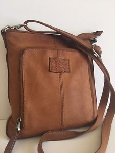 Vintage Fossil Brown Leather Cross Body Messenger Bag Purse