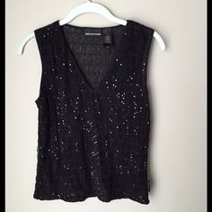 DKNYJeans Sequin Top Cute Black V-Neck Sheer Sequin Top. 97% Polyester/3% Spandex. Gently Worn. No Trades. DKNYJeans Tops