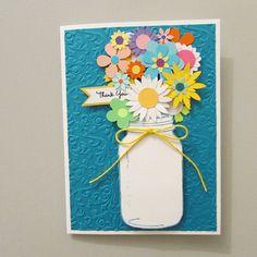Mason Jar bouquet card-Greeting cardsThank You cardsall