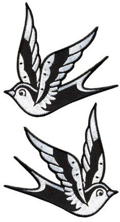 www.brokencherry.com #rocknroll #sourpuss #rockabilly #patch #tattoo #swallows White Sparrows Patch Set $7.00