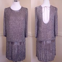 Adrianna Papell Drop Waist Beaded Silk Dress Size Size 6 | eBay
