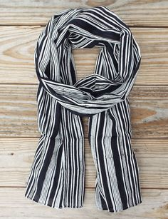 Black and White Fair Trade Striped Cotton Scarf - Passion Lilie