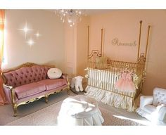 Bratt Decor's gorgeous Parisian four poster crib works like a charm is this vintage glam baby nursery.  If you like this look, let us help you create it.  Free design service: brattdecor.com