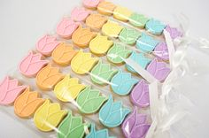 Three dozen (36) mini tulip cookies ~ 1.25 wide WHAT YOU GET: Six favor bags with six cookies each; each bag tied with coordinating satin ribbon ** Please message me with quantity & date needed BEFORE placing your order to confirm availability ** ********** Current lead time: 5-7
