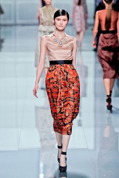 Silk satin Christian Dior from Paris Fasion Week for Fall 2012-love the horizontal pleating in the skirt and the mix of vibrant & nude palates.