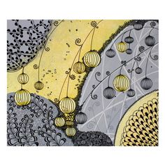 Abstract Painting  Yellow and Gray Modern Canvas Wall by Amborela