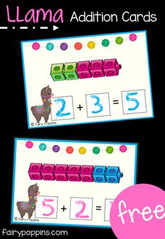 Part Part Whole Activities Llama addition and subtraction activities using number lines. Includes math centers and worksheets for numbers up to ~Fairy Poppins Numbers Kindergarten, Kindergarten Math Activities, Preschool Math, Fun Math, Teaching Math, Family Activities, Math Math, Addition Games For Kindergarten, Kids Math