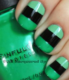 Colour blocking mani - Orly Ancient Jade then CND Blackjack then Sinful Rise and Shine with Scotch tape.