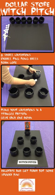 Our Dollar Store Witch Pitch is a great, cheap Halloween game for kids. You can make the Witch Pitch yourself by following this easy DIY or you can skip the glue gun and join us for the Cold Spring Harvest Festival on Saturday, October 10 at 1:00 p.m.