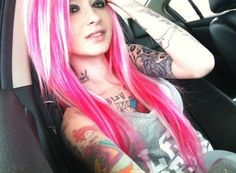 Hair may be pink, eh, but she's freakin' inked man <3 Who doesn't love ink <3
