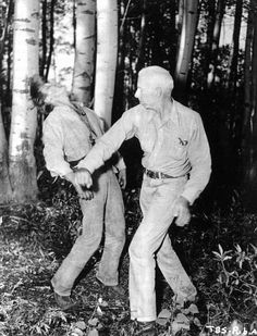 Rehearsing a scene from The Big Sky, Kirk Douglas learns how to absorb a punch, Howard Hawks-style
