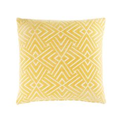 Yellow Cushion with White Graphic Motifs 45x45 | Maisons du Monde
