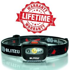 Blitzu i2 – Brightest Headlamp Flashlight with Red LED Light for Kids, Men, and Women. Waterproof – Perfect For Running, Walking, Reading, Camping, Home Improvement Projects and Emergency Use BLACK