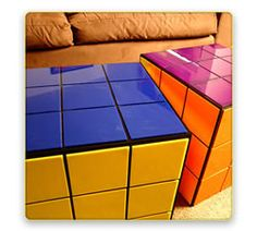 Rubik's Cube end table/coffee table. Wicked. :)