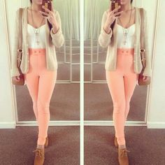 peach high waisted jeggings,white vest, beige cardgian and brown flats