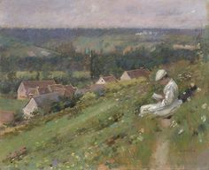 Theodore Robinson, (American Impressionist painter Reading in The Valley of Arconville, c 1887 Impressionist Landscape, Impressionist Paintings, Canvas Art For Sale, Canvas Art Prints, Monet, Theodore Robinson, Horse Hay, Phoenix Art Museum, American Impressionism