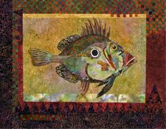 Fish 2 - Small art quilt raw edge pieced.  By Nancy Messier.