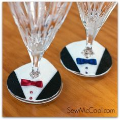Felt tuxedo wine glass charms - Add Charm to Your Wine Glasses: 20 Great DIY Wine Charms Ideas