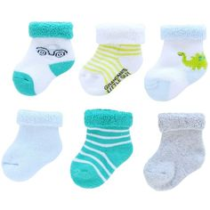 890064eaacd Just One You Made by Carter s Newborn Boys  6 Pack Dino and Car Socks.