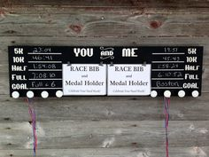 Race bib running double medal holder and by TheBarnWoodSign