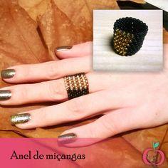 Diferente e super descolado anel de miçangas.  #miçangas #peyote #anel #hippie #boho #folk #artesanato #boêmia