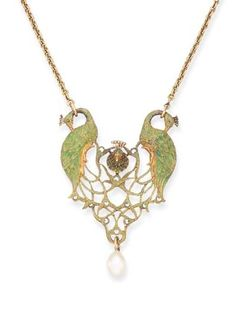 """AN ART NOUVEAU ENAMEL AND PEARL PENDANT, BY RENE FOY 