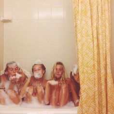 """Go away we're taking a bath"" ""Can we join?""  Dorcas Meadowes, Marlene McKinnon, Mary McDonald, and Lily Evans, taking a bath 5th year Taken by Sirius Black"