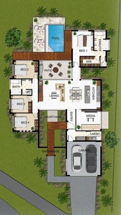 planta baixa com 4 dormitorios e piscina floor plan with 4 bedrooms and pool Image Size: 474 x 842 Source Sims 4 House Plans, Basement House Plans, House Layout Plans, Dream House Plans, Modern House Plans, House Layouts, House Floor Plans, Sims 4 Houses Layout, Garage Plans