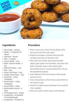 Poha Rava Vada | Tasted Recipes Indian Snacks, Indian Food Recipes, Rice Flakes, Poha Recipe, How To Make Dough, Chilli Paste, Vegetarian Snacks, Fusion Food, Snacks Recipes