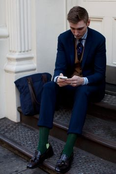"Honestly.. this is where the def'n of ""daper"" came from.  The colour contrasts and matches from mains to accessories is so on point.  The socks.. the vest.. I may have opted for a french cuff on the shirt, but this is no less Class."