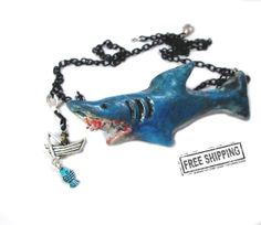 Psychobilly Shark Attack necklace horror jewelry creepy shark accessories horror movie shark jaws necklace geekery sea monster weird jewelry on Etsy, $25.26 AUD