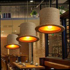 53.92$  Buy now - http://alipdg.worldwells.pw/go.php?t=32687838660 - Rope Pendant Lights Vintage Iron Pendant Lamps Wood Moorhouse Hat Pendant Lighting Hanglamp 110-240v