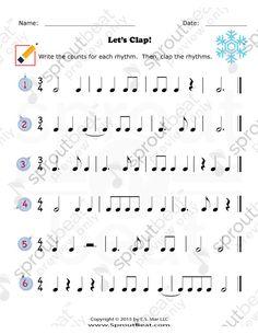 Music Worksheets – Holidays – Rhythm