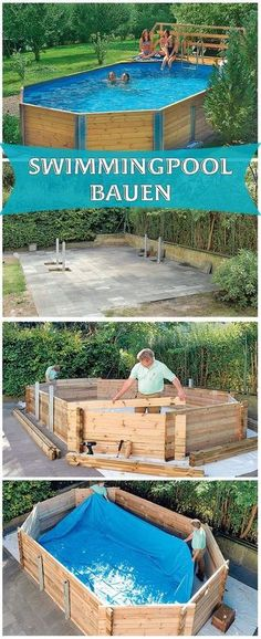 Ein Swimmingpool im eigenen Garten – ist das nicht ein absoluter Traum. Mit ei… A swimming pool in your own garden – is not that an absolute dream. With a kit you can also meet this. We show you how to build a wooden pool kit. Piscina Diy, Piscina Pallet, Diy Swimming Pool, Diy Pool, Above Ground Pool, In Ground Pools, Backyard Projects, Outdoor Projects, Pool Garden