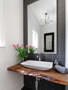 Natural Wood counter. Modern Powder Room Design, Pictures, Remodel, Decor and Ideas