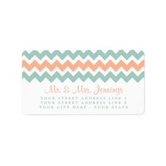 "Simple yet elegant, the modern chevron wedding collection is a stunning design featuring a lovely zig-zag print in a peach, mint and white color, which is perfect for any modern wedding celebration. <br> <br> These labels can be personalized for your special occasion and would make the perfect labels for your wedding, bridal shower, engagement party, birthday party and many more special occasions. <br> <br> Add your custom wording to this design by using the ""Edit this design template"" boxes…"