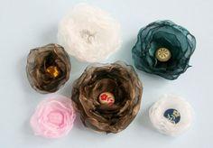 Organza Fabric Flower Hairclips
